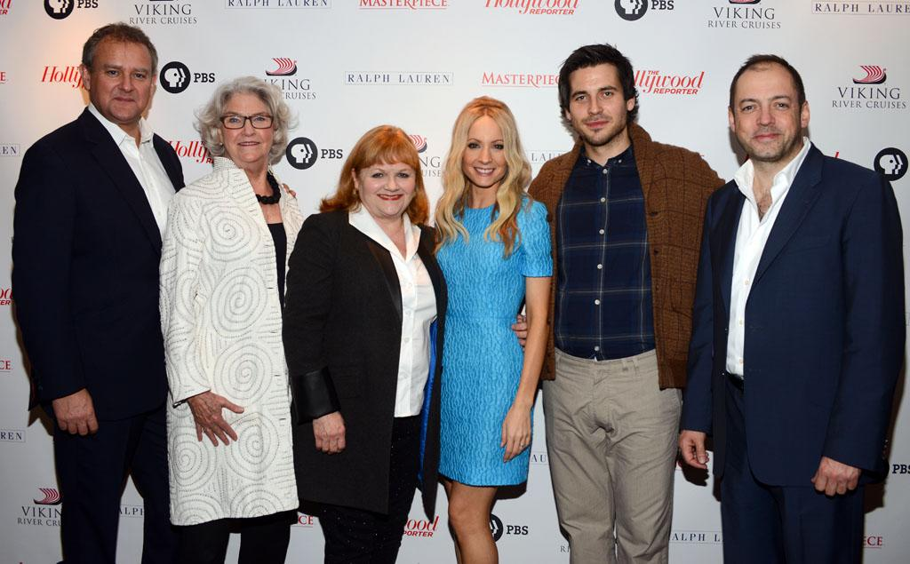 "Hugh Bonneville, executive producer Rebecca Eaton, Lesley Nicol, Joanne Froggatt, Rob James-Collier and executive producer Gareth Neame arrive at The Hollywood Reporter screening of PBS Masterpiece's ""Downton Abbey"" Season 3 on December 7, 2012 in West Hollywood, California."