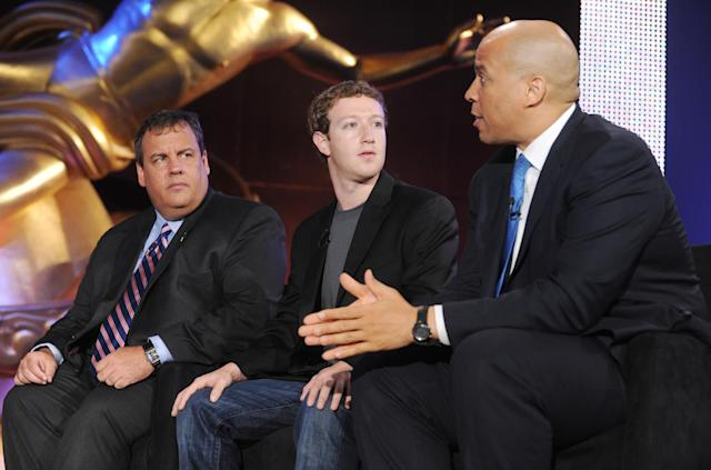 Former New Jersey Gov. Chris Christie, Facebook CEO Mark Zuckerberg and Newark Mayor Cory Booker at an education summit hosted by NBC News. (Photo: Charles Sykes/NBC)