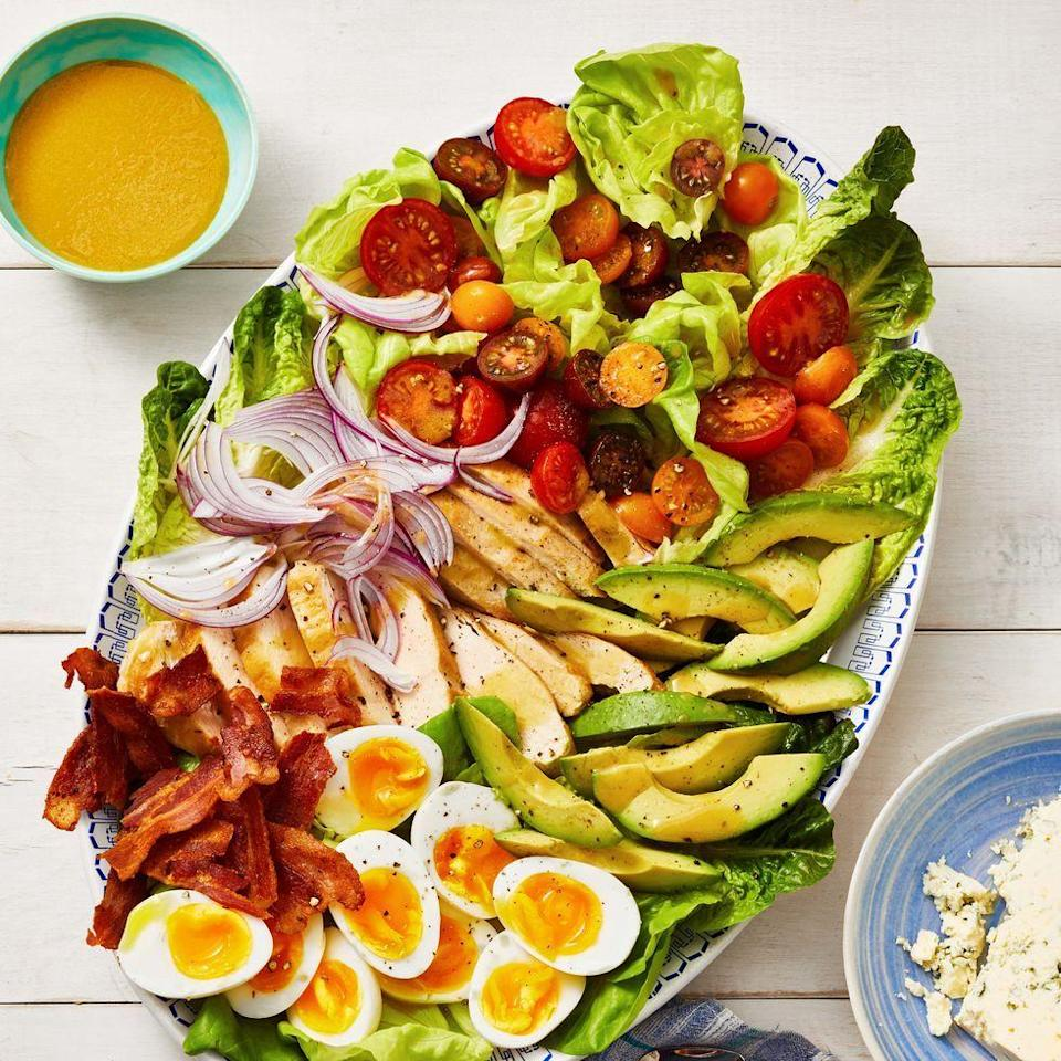 """<p>We could all probably use a little extra green in the days after Thanksgiving, top this classic salad with your leftover turkey ... and lots of crispy bacon.</p><p><em><a href=""""https://www.goodhousekeeping.com/food-recipes/a36420280/easy-classic-cobb-salad-recipe/"""" rel=""""nofollow noopener"""" target=""""_blank"""" data-ylk=""""slk:Get the recipe for Cobb Salad »"""" class=""""link rapid-noclick-resp"""">Get the recipe for Cobb Salad »</a></em></p>"""