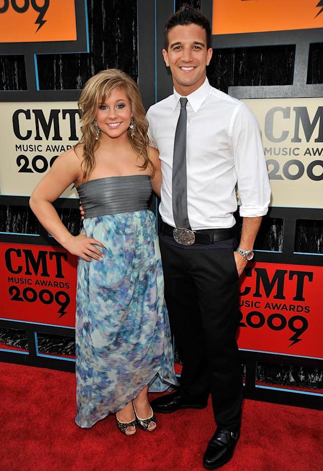Olympic gymnast Shawn Johnson and dancing partner Mark Ballas attend the 2009 CMT Music Awards at the Sommet Center on June 16, 2009 in Nashville, Tennessee.