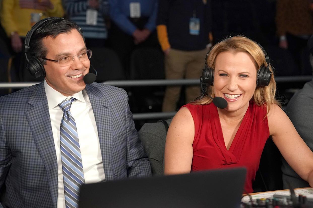 Fox announcers Tim Miles and Lisa Byington on the air before a college basketball game between the Marquette Golden Eagles and the Providence Friars at the Fiserv Forum on January 7, 2020 in Milwaukee, Wisconsin.  (Photo by Mitchell Layton/Getty Images)