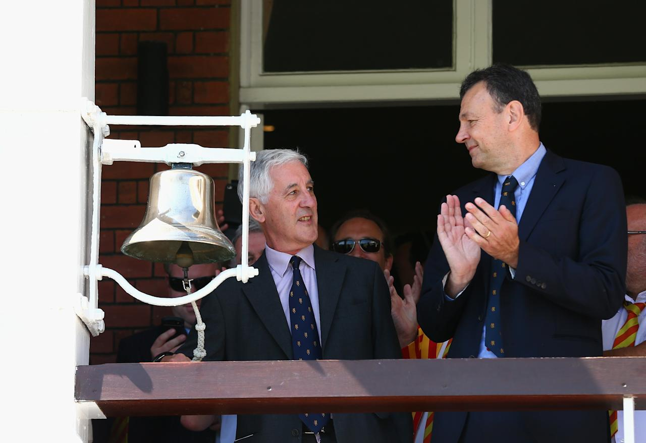 LONDON, ENGLAND - JULY 19:  Mike Brearley rings the bell before play during day two of the 2nd Investec Ashes Test match between England and Australia at Lord's Cricket Ground on July 19, 2013 in London, England.  (Photo by Ryan Pierse/Getty Images)