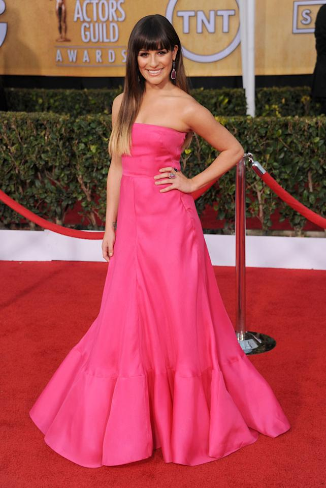 Lea Michele arrives at the 19th Annual Screen Actors Guild Awards at The Shrine Auditorium on January 27, 2013 in Los Angeles, California.