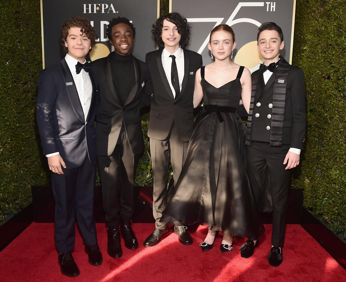 <p>The <b>Stranger Things</b> squad - Gaten Matarazzo, Caleb McLaughlin, Finn Wolfhard, Sadie Sink, and Noah Schnapp - were dressed to the nines at the 2018 ceremony.</p>