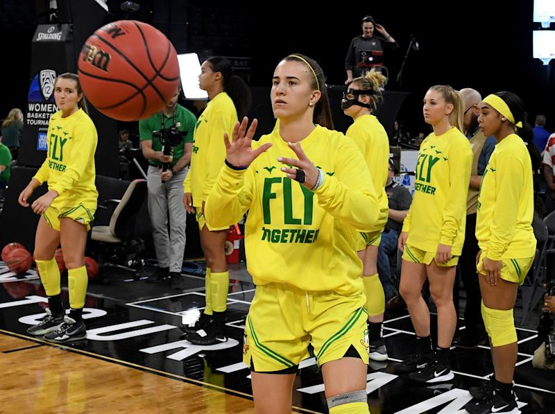 Sabrina Ionescu is expected to be the No. 1 pick in the 2020 WNBA draft. She'll likely be joined in the first round by teammates Satou Sabally and Ruthy Hebard. (Ethan Miller/Getty Images)