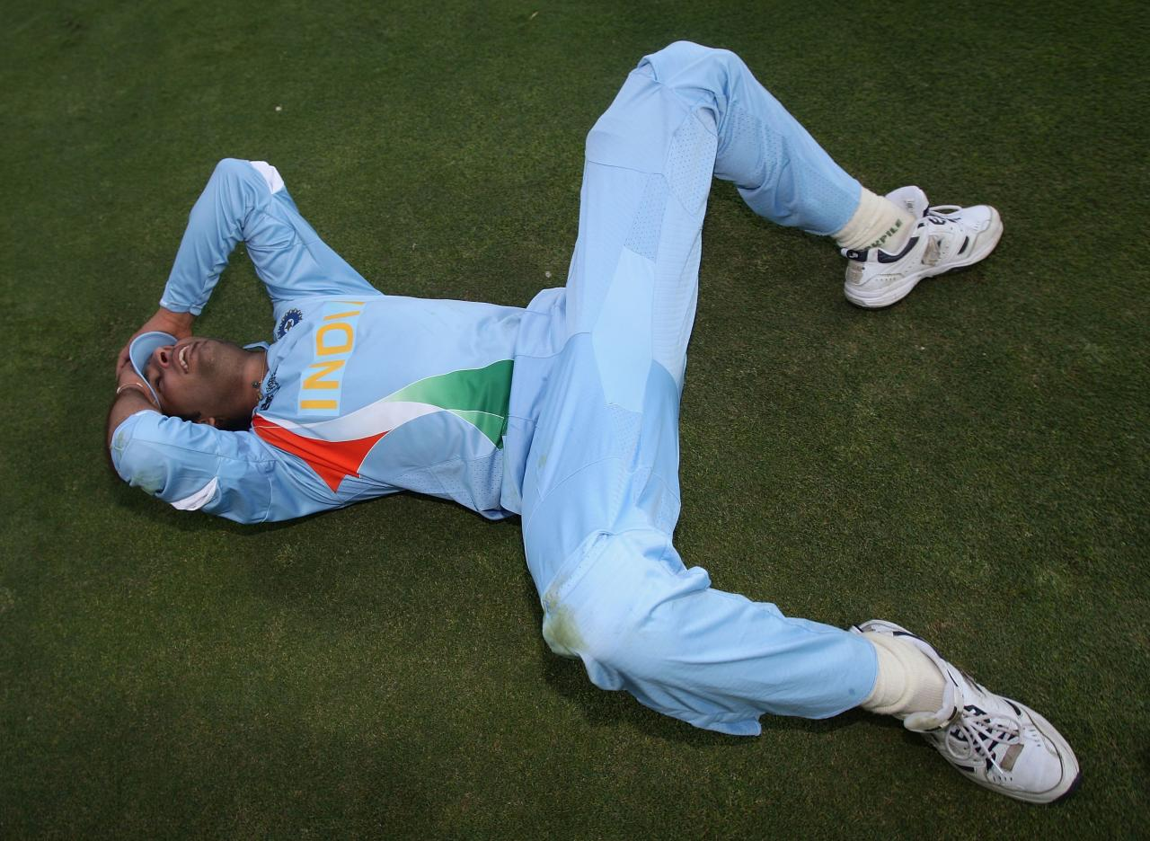 JOHANNESBURG, SOUTH AFRICA - SEPTEMBER 24:  Yuvraj Singh of India reflects on his side's win after the Twenty20 Championship Final match between Pakistan and India at The Wanderers Stadium on September 24, 2007 in Johannesburg, South Africa.  (Photo by Hamish Blair/Getty Images)