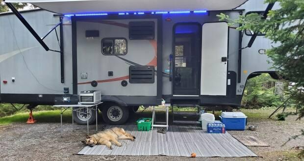 Shelley Jones hauls her trailer to Fundy National Park every summer with her family and dog Brandy.