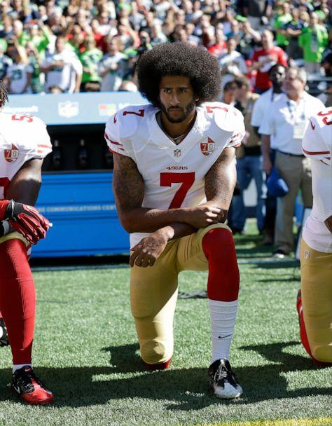 PHOTO: In this Sept. 25, 2016, file photo, San Francisco 49ers' Colin Kaepernick kneels during the national anthem before an NFL football game against the Seattle Seahawks, in Seattle. (AP)