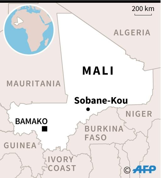 Map locating Sobane-Kou in Mali, where 95 people were killed during an attack overnight Sunday to Monday. (AFP Photo/AFP)