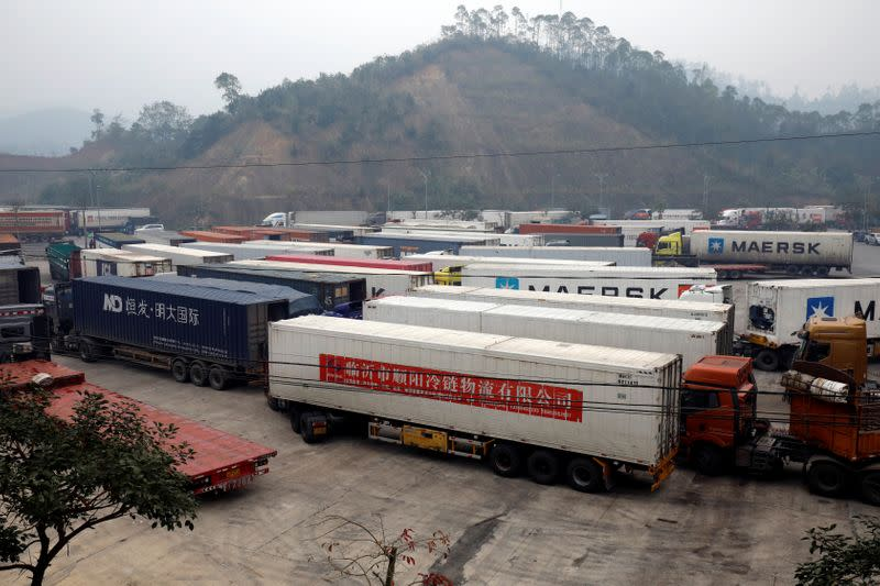 Container trucks are seen while waiting for cross the border at Huu Nghi border gate connecting with China, in Lang Son province, Vietnam