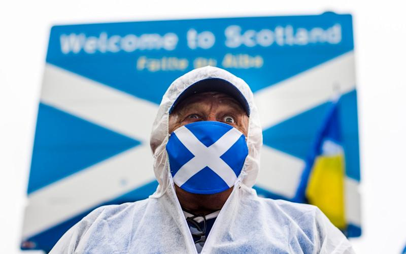 Earlier this year, Nicola Sturgeon's comments about a border were seen as leading to 'anti-English' protests - Euan Cherry/Euan Cherry