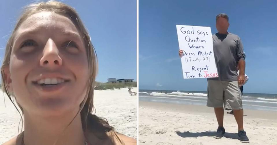 man holding up a sign on the beach