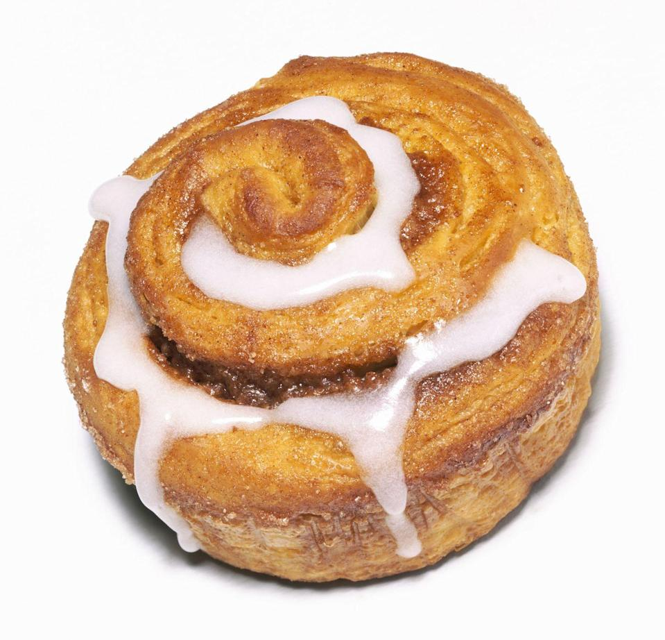 <p>A standard cinnamon bun can max out your calorie, fat, and sugar counts for the day. A smaller, mini sized cinnamon bun is a bit of a better choice, but this is still a very calorically dense treat.</p>