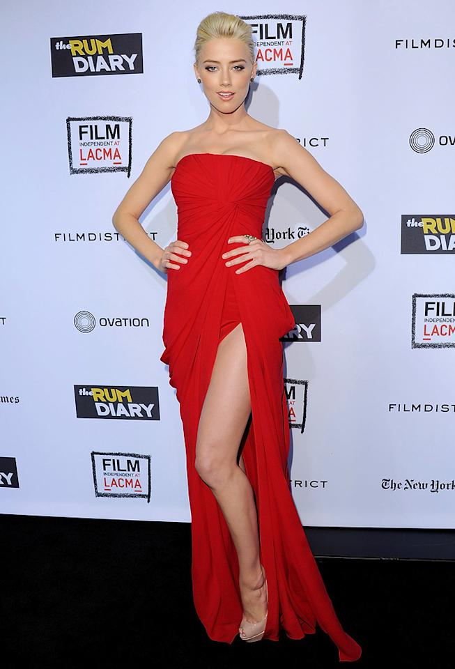 "<a href=""http://movies.yahoo.com/movie/contributor/1809059761"">Amber Heard</a> at the Los Angeles premiere of <a href=""http://movies.yahoo.com/movie/1810077951/info"">The Rum Diary</a> on October 13, 2011."