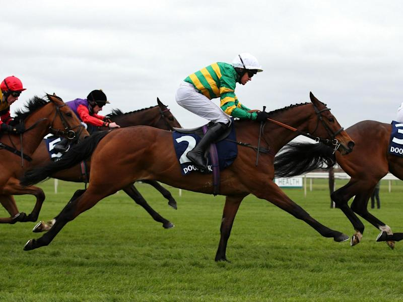 Defi Du Seuil (2) won the Doom Bar Anniversary 4-Y-O Juvenile Hurdle Race (Getty)