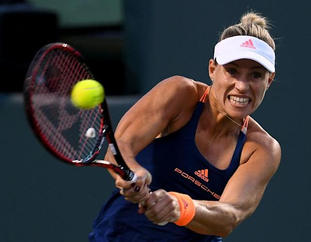 Germany's Angelique Kerber, pictured on March 29, 2017, defeated fourth-seeded Spaniard Carla Suarez Navarro in Saturday's semi-finals (AFP Photo/Rob Foldy)