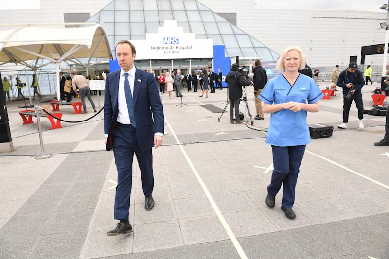 Health Secretary Matt Hancock and Ruth May, chief nursing officer for England, at the opening of the NHS Nightingale Hospital at the ExCel centre in London, a temporary hospital with 4000 beds which has been set up for the treatment of Covid-19 patients.