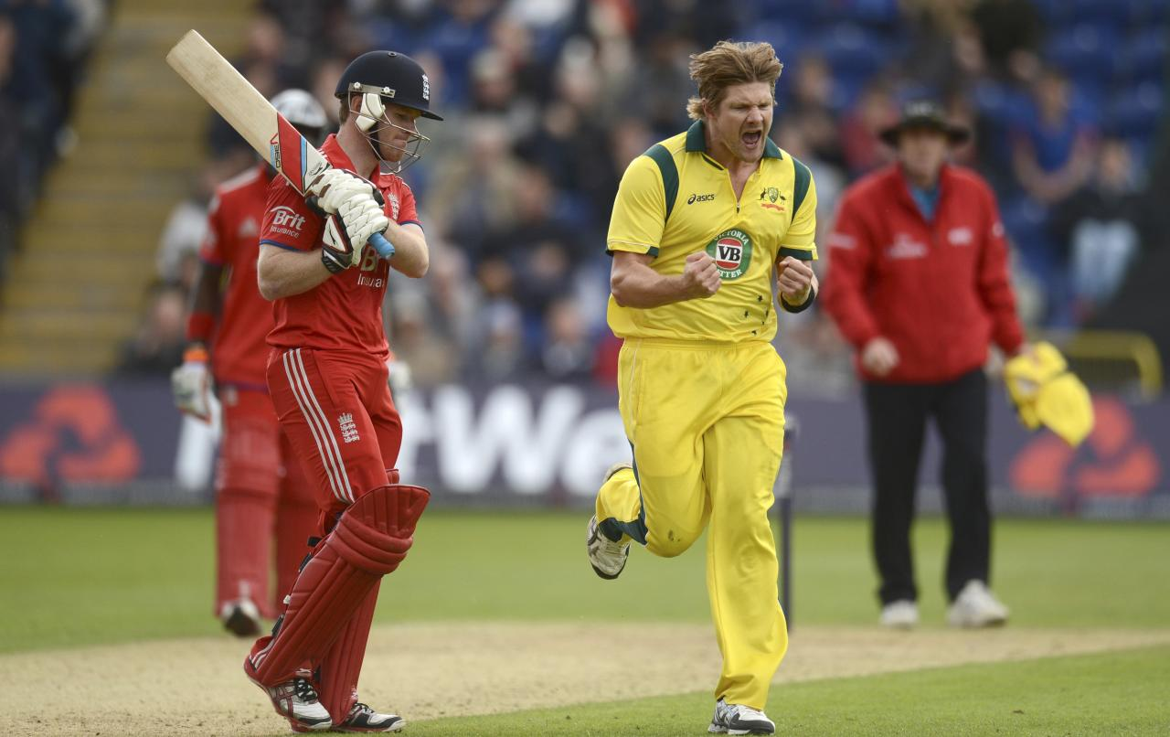 Australia's Shane Watson celebrates after dismissing England's Eoin Morgan during the fourth one-day international at Sophia Gardens in Cardiff, Wales September 14, 2013. REUTERS/Philip Brown (BRITAIN - Tags: SPORT CRICKET)