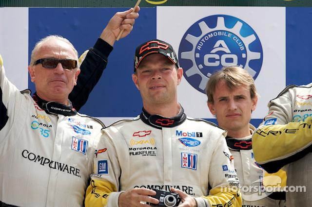 "2009: LMGT1 podium: class winners Jan Magnussen and Antonio Garcia <span class=""copyright"">Eric Gilbert</span>"