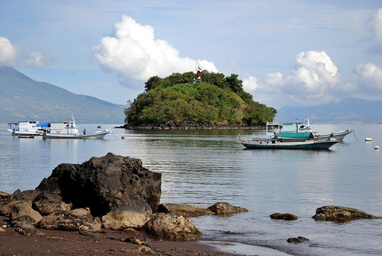 Fishing boats anchor at Waibalun bay in East Flores, East Nusa Tenggara on May 21, 2013