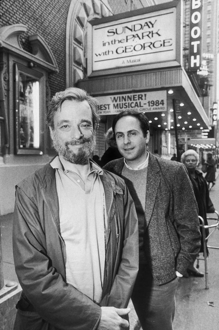 Stephen Sondheim and James Lapine in front of New York's Booth Theatre.