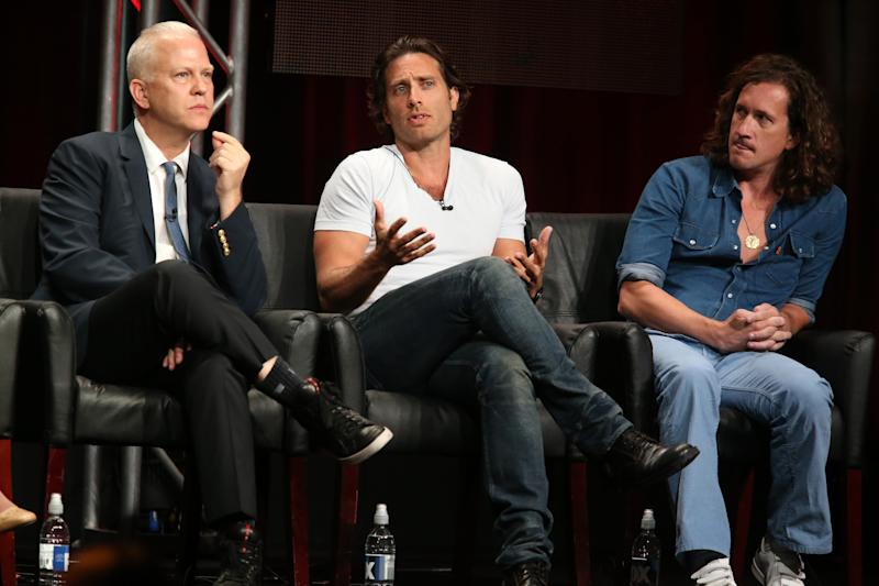 Co-creators/executive producers/writers/directors Ryan Murphy, Brad Falchuk and Ian Brennan speak onstage during the 'Scream Queens' panel discussion at the FOX portion of the 2015 Summer TCA Tour at The Beverly Hilton Hotel on August 6, 2015 in Beverly Hills, California.