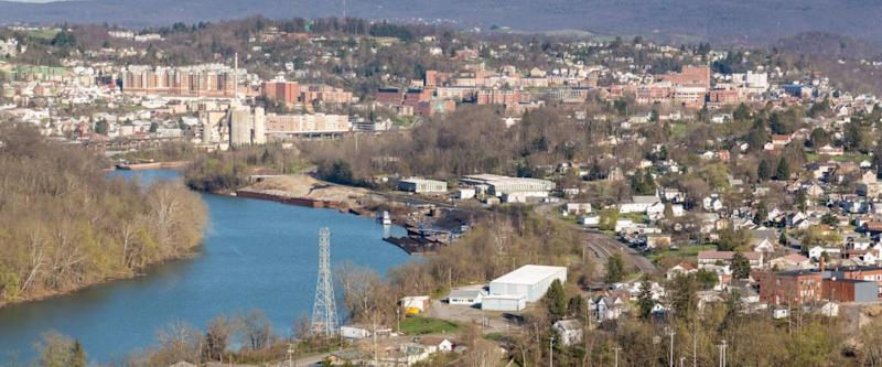 Panoramic skyline and cityscape of Morgantown, home of West Virginia University or WVU