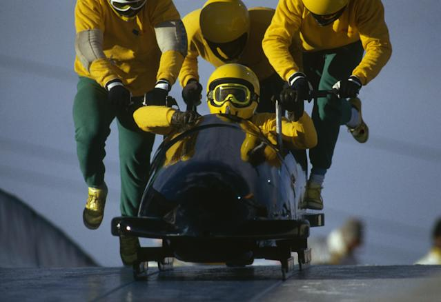 "<p>The four-man competition was never something the Jamaicans had planned to do. However after their success in the two-man competition, the team decided to give it a shot. Fitch quickly raised money by selling popular ""Jamaican Bobsled t-shirts"" and purchased a four-man sled. (Getty Images) </p>"