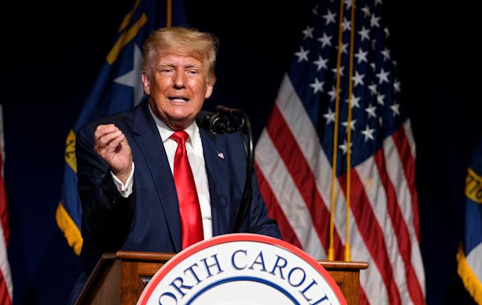 Former US President Donald Trump addresses the NCGOP state convention on June 5, 2021 in Greenville, North Carolina.  (Getty Images)