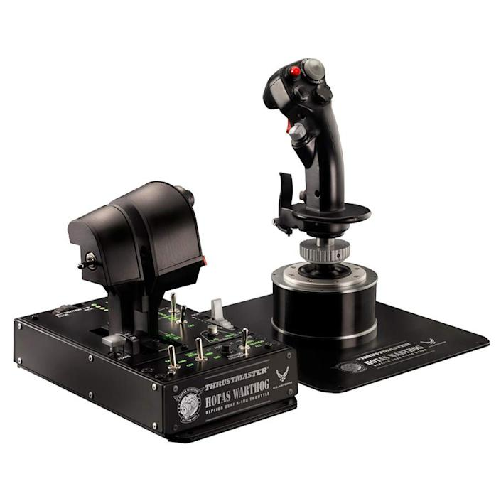 """<p><strong>Thrustmaster</strong></p><p>amazon.com</p><p><strong>$719.00</strong></p><p><a href=""""https://www.amazon.com/ThrustMaster-2960720-Thrustmaster-Hotas-Warthog/dp/B00371R8P4?tag=syn-yahoo-20&ascsubtag=%5Bartid%7C10060.g.36342642%5Bsrc%7Cyahoo-us"""" rel=""""nofollow noopener"""" target=""""_blank"""" data-ylk=""""slk:Shop Now"""" class=""""link rapid-noclick-resp"""">Shop Now</a></p><p>If you are looking for a premium, ultra-realistic, fully immersive HOTAS, especially for combat-based simulation, the Thrustmaster Hotas Warthog can't be beat. Licensed by the U.S. Air Force, the Warthog is a replica system, faithfully recreating the stick and throttle used in the actual A-10C attack aircraft. The end result is a system with incredible quality, precision, and feel throughout.</p><p>Weighing in at over 15 pounds, the build quality on the Warthog is extraordinary, with solid metal bases, metal housing, sturdy materials, and detailed input labeling everywhere. In terms of feel (and cost), it makes every other system listed look like a toy. </p><p>Like other HOTAS systems in this premium category, the Warthog has all the buttons, switches, hats, rotaries, rudders, and joysticks you could ask for.</p>"""