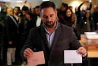 Vox party candidate Santiago Abascal votes in Spain's general election