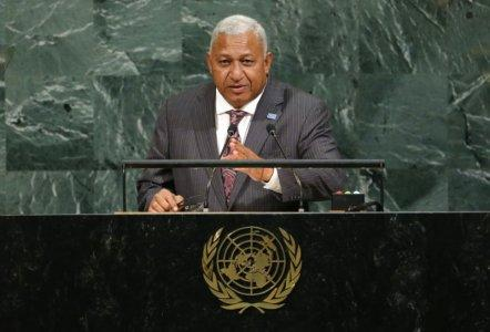 Fiji Prime Minister Josaia Voreqe Bainimarama addresses the 72nd United Nations General Assembly at U.N. headquarters in New York, U.S., September 20, 2017. REUTERS/Eduardo Munoz
