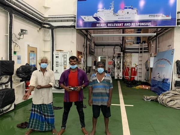 The three rescued fishermen. (Image Source: PIB)