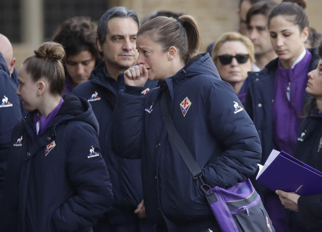 <p>Players of Fiorentina Women's FC arrive for the funeral ceremony of Italian player Davide Astori in Florence, Italy, Thursday, March 8, 2018. The 31-year-old Astori was found dead in his hotel room on Sunday after a suspected cardiac arrest before his team was set to play an Italian league match at Udinese. (AP Photo/Alessandra Tarantino) </p>