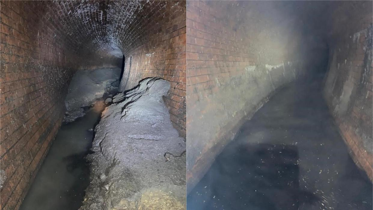 Thames Water took before and after pictures of the spot where the fatberg was located (Thames Water)