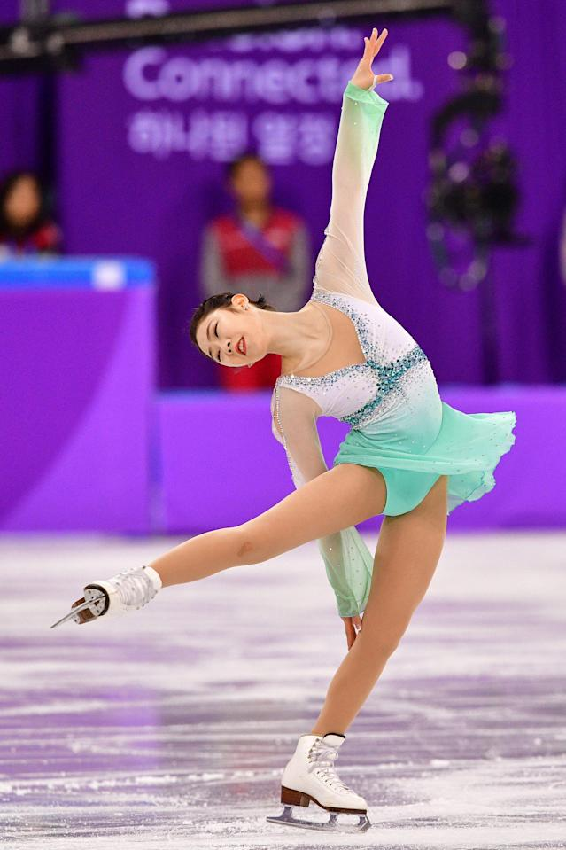 <p>South Korea's Choi Dabin competes in the figure skating team event women's single skating short program during the Pyeongchang 2018 Winter Olympic Games at the Gangneung Ice Arena in Gangneung on February 11, 2018. / AFP PHOTO / Mladen ANTONOV </p>