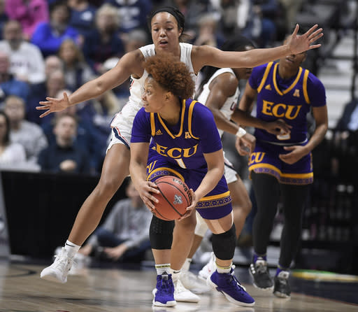East Carolina's Alex Frazier is guarded by Connecticut's Napheesa Collier during the first half of an NCAA college basketball game in the American Athletic Conference tournament quarterfinals, Saturday, March 9, 2019, at Mohegan Sun Arena in Uncasville, Conn. (AP Photo/Jessica Hill)