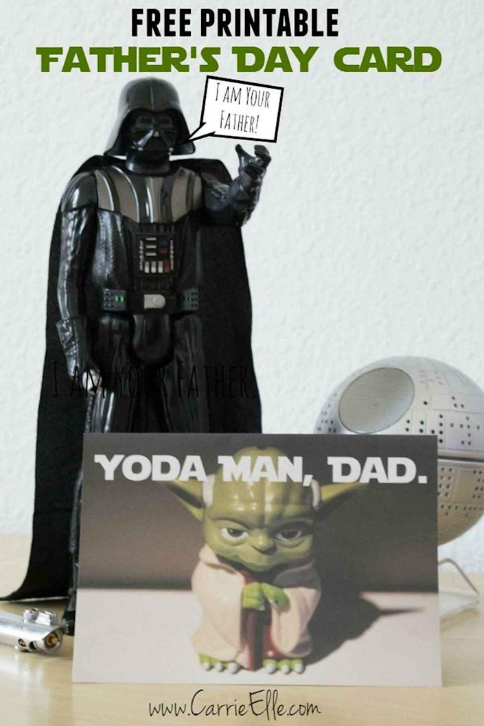 """<p>If Dad's a huge <em>Star Wars </em>fan (lucky you!), we guarantee he'll love this hilarious card.</p><p><em><strong>Get the printable at <a href=""""http://www.carrieelle.com/free-printable-fathers-day-cards-star-wars-style/"""" rel=""""nofollow noopener"""" target=""""_blank"""" data-ylk=""""slk:Carrie Elle"""" class=""""link rapid-noclick-resp"""">Carrie Elle</a>.</strong></em></p>"""