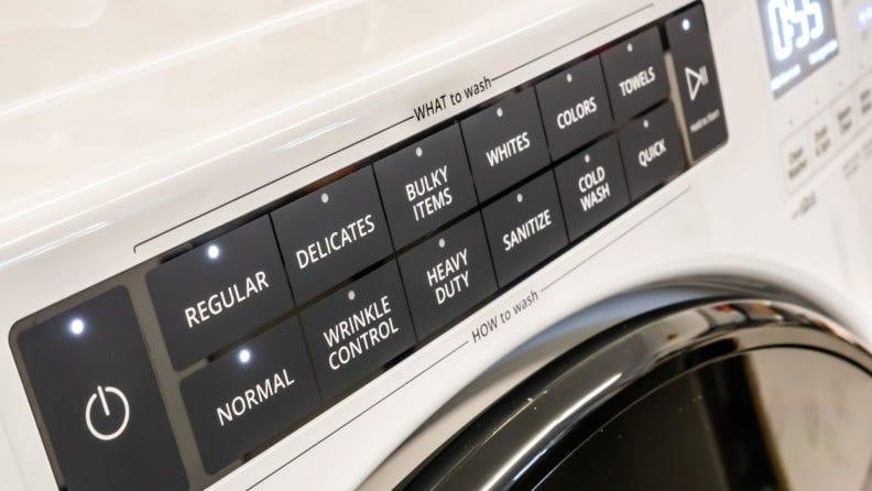 Whirlpool's large What to Wash / How to Wash control panel makes cycle selection a lot easier—because you can see it.