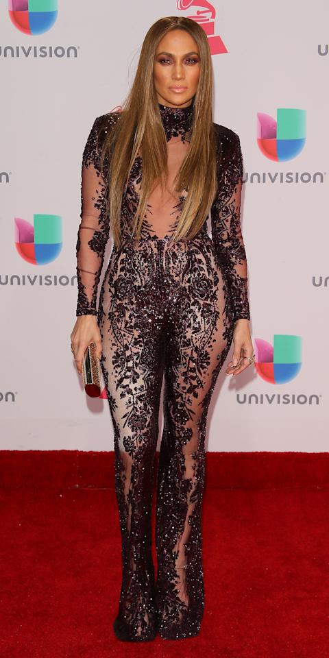 <p>What's an awards show without Zuhair Murad? Lopez is one of the designer's biggest fans, thus it was no surprise that she slipped on a sexy embellished jumpsuit with sheer panels from the brand.</p>