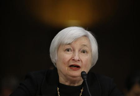 U.S. Federal Reserve Vice Chair Yellen testifies during a Senate Banking Committee confirmation hearing on her nomination to be the next chairman of the Federal Reserve in Washington