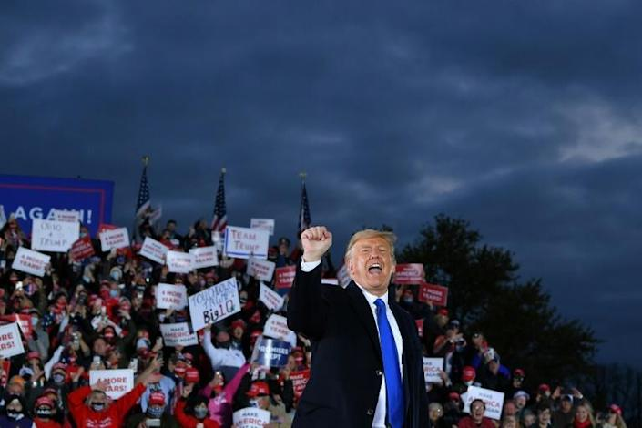 US President Donald Trump, seen here at a rally in Circleville, Ohio, is fighting to turn his campiagn around