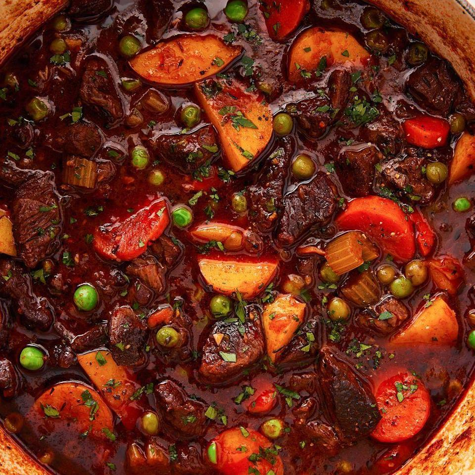"""<p>Wine helps develop richer, more complex flavours in your stew. If you don't have any leftover cooking wine on hand, your stew will be delicious without it—just sub in more beef stock! </p><p>Get the <a href=""""https://www.delish.com/uk/cooking/recipes/a31127970/easy-beef-stew-recipe/"""" rel=""""nofollow noopener"""" target=""""_blank"""" data-ylk=""""slk:Beef Stew"""" class=""""link rapid-noclick-resp"""">Beef Stew</a> recipe.</p>"""