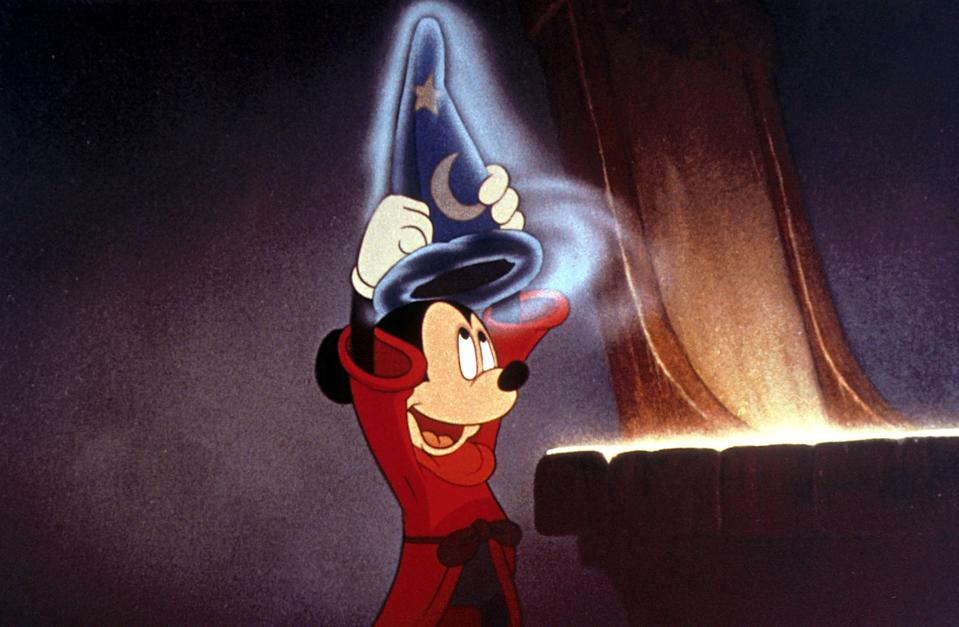 """<p>One of the most thrilling titles in Disney's catalog, <em>Fantasia</em> was meant to be just a vehicle for Mickey Mouse but morphed into an extravaganza of animation and classical music that still boggles the mind today. If you've never seen this one, definitely add it to your list. </p> <p><a href=""""https://cna.st/affiliate-link/4jjCSCMwBXPB5oyki6wXEUAphtuGb1MZzGNKngaJQcyUVBwn2Cxuh9j2Fkf6NELSUN5YyEtEUisTbGFi5Jrm9qoZuHhrXdmN5WPoocJw6MHouG5CGJP?cid=5e864a33d9989e0008a9db93"""" rel=""""nofollow noopener"""" target=""""_blank"""" data-ylk=""""slk:Available on Disney+"""" class=""""link rapid-noclick-resp""""><em>Available on Disney+</em></a></p>"""