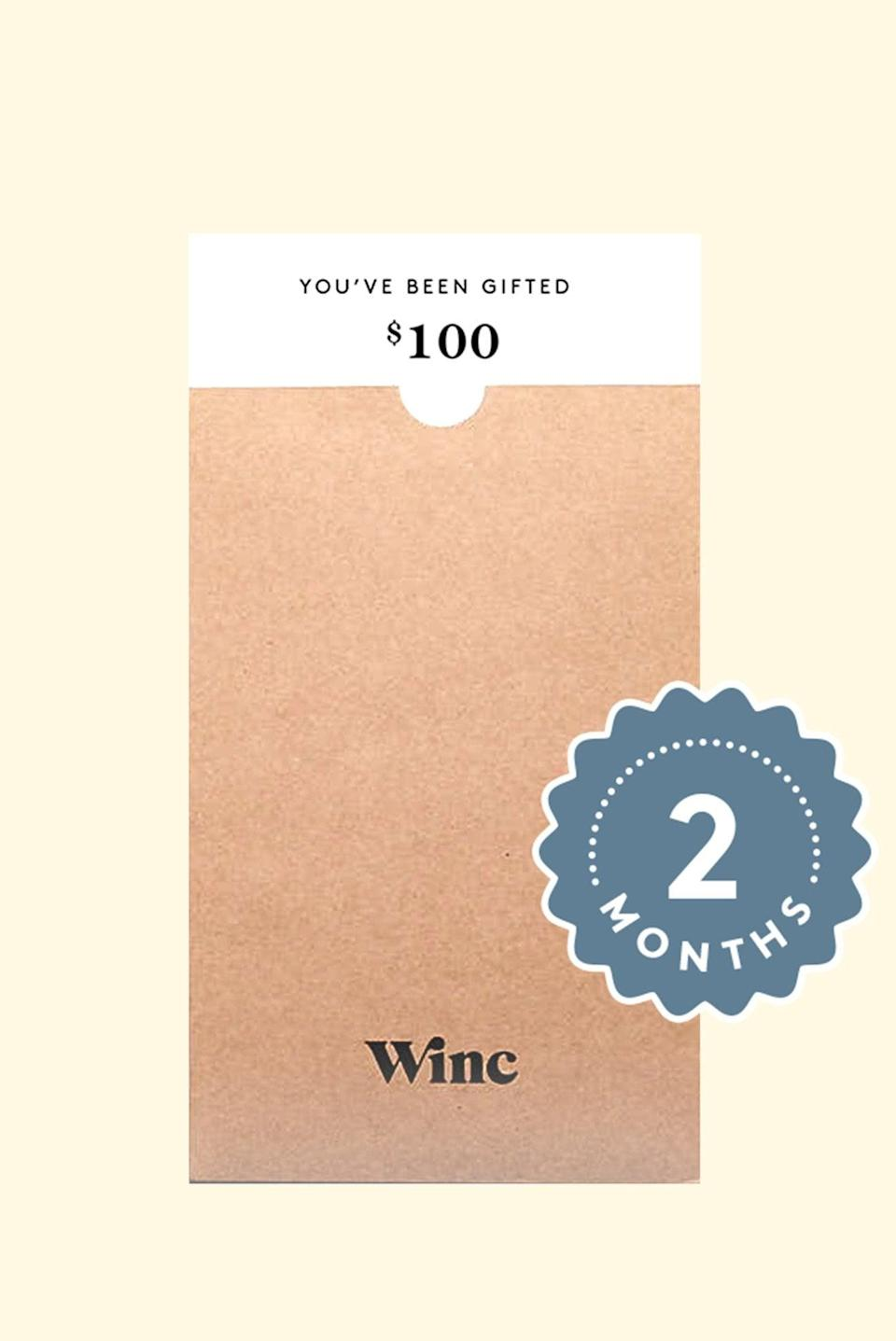 <p>Drink up with this <span>Winc Two Month Subscription</span> ($100) of wine. This is a present any wine drinker will appreciate.</p>