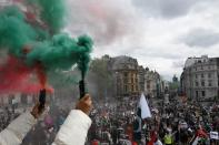 Protest following a flare-up of Israeli-Palestinian violence, in London