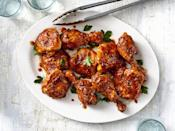 """<p><strong>Recipe: <a href=""""https://www.southernliving.com/recipes/oven-baked-bbq-chicken"""" rel=""""nofollow noopener"""" target=""""_blank"""" data-ylk=""""slk:Oven-Baked BBQ Chicken"""" class=""""link rapid-noclick-resp"""">Oven-Baked BBQ Chicken</a></strong></p> <p>Tender and juicy, this BBQ chicken will satisfy even the pickiest eaters at your table. A simple homemade barbecue sauce is easy to throw together and has less sugar than its bottled counterparts.</p>"""