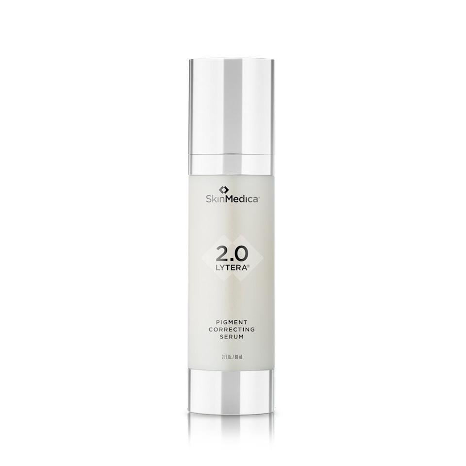 "<p>Bhanusali is also excited about tranexamic acid's potential for undoing dark spots. ""Tranexamic acid is a new topical that's been shown to help in hyperpigmentation and is found in SkinMedica's Lytera 2.0,"" he tells <em>Allure</em>, noting that it's also available in oral form by prescription. The brand promises noticeable improvements in as little as two weeks, with significant results at 12 weeks.</p> <p><strong>$154</strong> (<a href=""https://www.dermstore.com/product_Lytera+20+Pigment+Correcting+Serum_70280.htm"" rel=""nofollow"">Shop Now</a>)</p>"