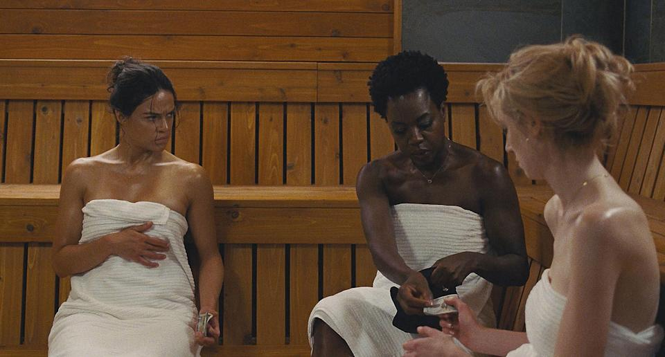 "<p><strong><em>Widows</em></strong>(2018)</p><p>After their husbands die, Veronica (Viola Davis), Linda (Michelle Rodriguez), Alice (Elizabeth Debicki), and Belle (Cynthia Erivo) band together to finish the job.</p><p><strong>Why You Should Watch It:</strong> <em>Widows</em><a href=""https://www.refinery29.com/en-us/2018/05/200529/women-heist-movies"" rel=""nofollow noopener"" target=""_blank"" data-ylk=""slk:turns the heist movie genre on its head"" class=""link rapid-noclick-resp"">turns the heist movie genre on its head</a>, and places women at the forefront.</p>"