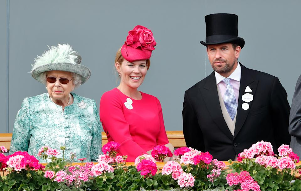 Queen Elizabeth II, Autumn Phillips and Peter Phillips attend day 5 of Royal Ascot at Ascot Racecourse on June 23, 2018 in Ascot, England